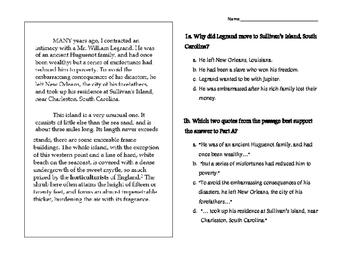 The Gold Bug PARCC questions