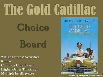 The Gold Cadillac Choice Board Novel Study Activities Menu Book Project Rubric