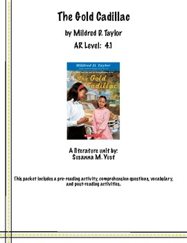 The Gold Cadillac Reading Comprehension Guide & Literature Unit