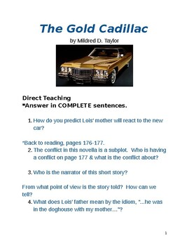 The Gold Cadillac short story lesson plans 1950s Black Family
