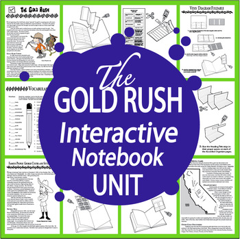 The Gold Rush Interactive Notebook + George Custer & Sitting Bull Biographies