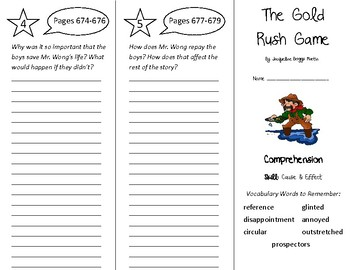 The Gold Rush Game Trifold - Treasures 4th Grade Unit 6 Week 1 (2009)