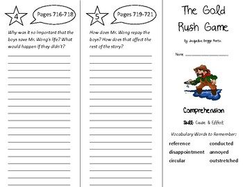 The Gold Rush Game Trifold - Treasures 4th Grade Unit 6 We