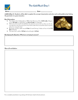 The Gold Rush Inquiry Based Lesson Sheets