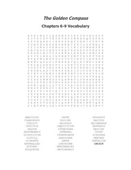 The Golden Compass Vocabulary Word Search for Chapters 6-9