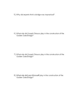 The Golden Gate Bridge : Nonfiction Reading with Comprehension Questions