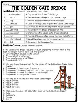 The Golden Gate Bridge Reading Comprehension; American Landmark; San Francisco