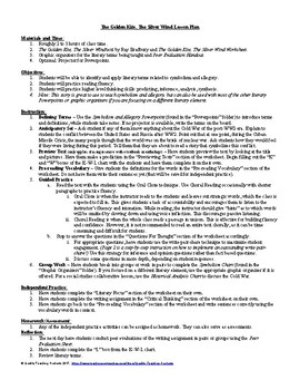 The Golden Kite, the Silver Wind by Bradbury Lesson, Worksheet, Questions, Key