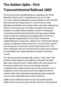 The Golden Spike - First Transcontinental Railroad 1869  Handout