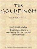 The Goldfinch by Donna Tartt (Study Guide and Short Test)