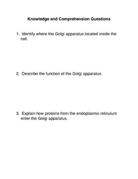 The Golgi apparatus Common Core Activity