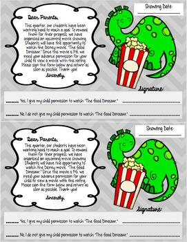 The Good Dinosaur: EDITABLE PG Movie Parent Permission Slip