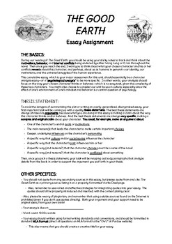 The Good Earth Essay Assignment (+ Planning & Rubric)