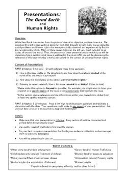 The Good Earth Human Rights Research/Presentation Assignment (+Rubric)