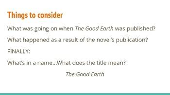 The Good Earth Novel Study Slides & Activities
