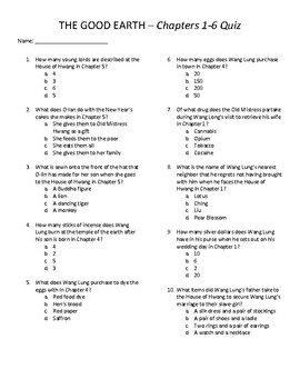 The Good Earth Quizzes - Chapters 1-34 with Answer Key