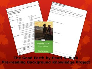 The Good Earth: pre-reading/background knowledge assignment