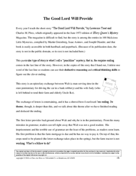 The Good Lord Will Provide: Short Story Study Guide (6 Pg., Ans. Key, $3)
