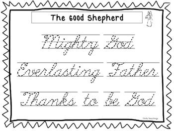 The Good Shepherd Tracing Worksheets. Cursive, D'Nealian, and Manuscript.
