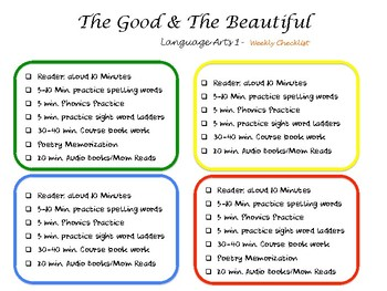 The Good and the Beautiful Level 1 Weekly schedule 4 day school week