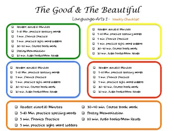 The Good and the Beautiful Level 1 Weekly schedule 5 day school week