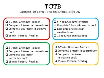 The Good and the Beautiful Level 4 Weekly schedule 4 day school week
