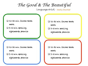 The Good and the Beautiful Level K Weekly schedule 4 day school week