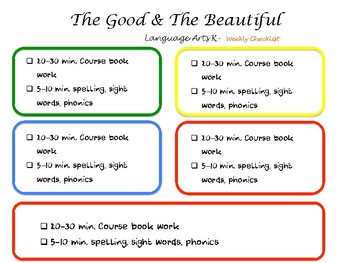 The Good and the Beautiful Level K Weekly schedule 5 day school week