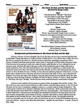 The Good, the Bad, and the Ugly Film (1966) Study Guide Mo