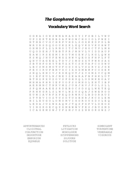 The Goophered Grapevine Vocabulary Word Search - Chesnutt