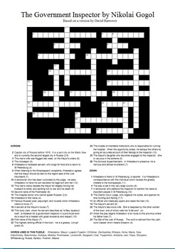The Government Inspector by Nikolai Gogol - Crossword Puzzle