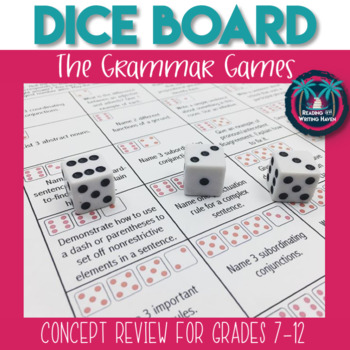 The Grammar Games! Dice Review Game for Common Core Grammar Standards
