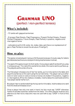 UNO-style game on grammar tenses (great for ESL intermediate students!)