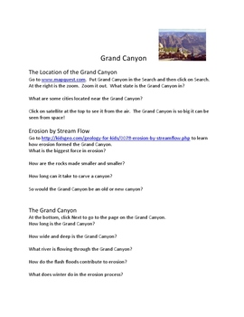 The Grand Canyon Webquest to Study Erosion