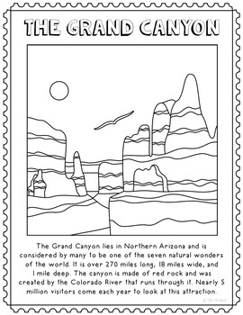 The Grand Canyon Informational Text Coloring Page Craft or Poster