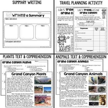 The Grand Canyon:  Informational text, plants & animals adaptations, & more!