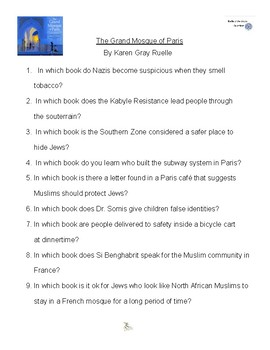 The Grand Mosque of Paris by Karen Gray Ruelle, Battle of the Books Questions