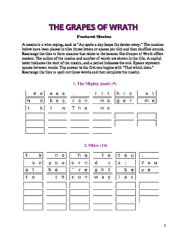 The Grapes of Wrath: 11 Fractured Maxims—Unique Theme Activity!