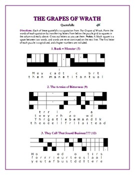 The Grapes of Wrath: 12 Quotefall Puzzles—Fun & Challenging!