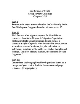 The Grapes of Wrath Ch. 1-18 Review Challenge
