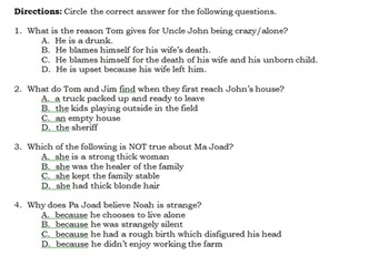 The Grapes of Wrath Ch  8-10 Quiz V1 and V2