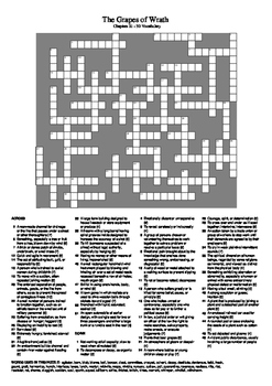 The Grapes of Wrath - Chapters 21 - 30 Vocabulary Crossword