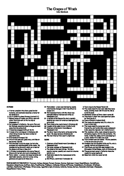 The Grapes of Wrath - Crossword Puzzle