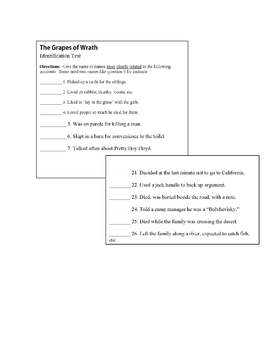 The Grapes of Wrath Objective Test