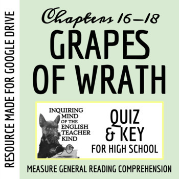 The Grapes of Wrath Quiz - Chapters 16-18