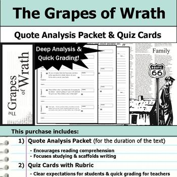 The Grapes of Wrath - Quote Analysis & Reading Quizzes