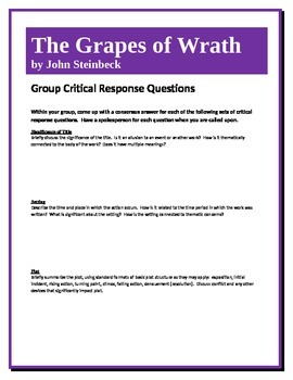 The Grapes of Wrath - Steinbeck - Group Critical Response Questions