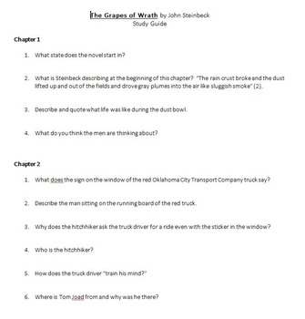 The Grapes of Wrath Study Guide, Key, and Test