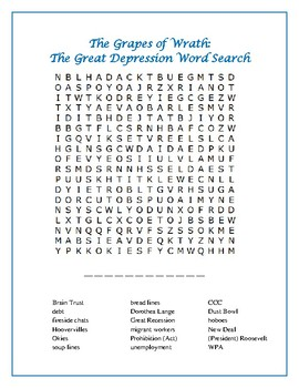 The Grapes of Wrath: The Great Depression Word Search with Hidden Message—Fun!