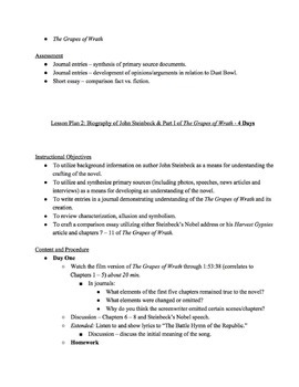 The Grapes of Wrath - Unit Plan
